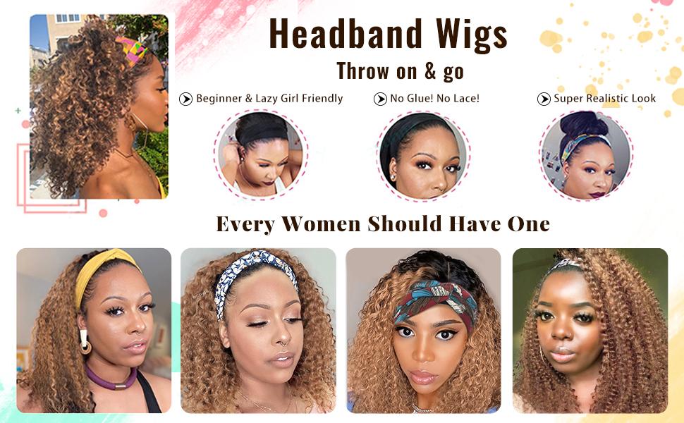 headband human hair wigs natural black deep wave