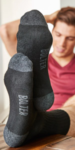 crew height socks cut black bolter synthetic performance fabric nylon spandex workout gym hiking run
