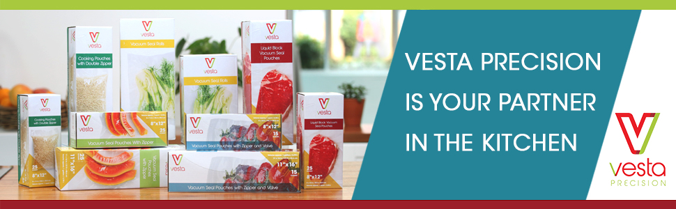 Banner showing all Vesta Precision vacuum rolls and vacuum bag products on kitchen table (edited)