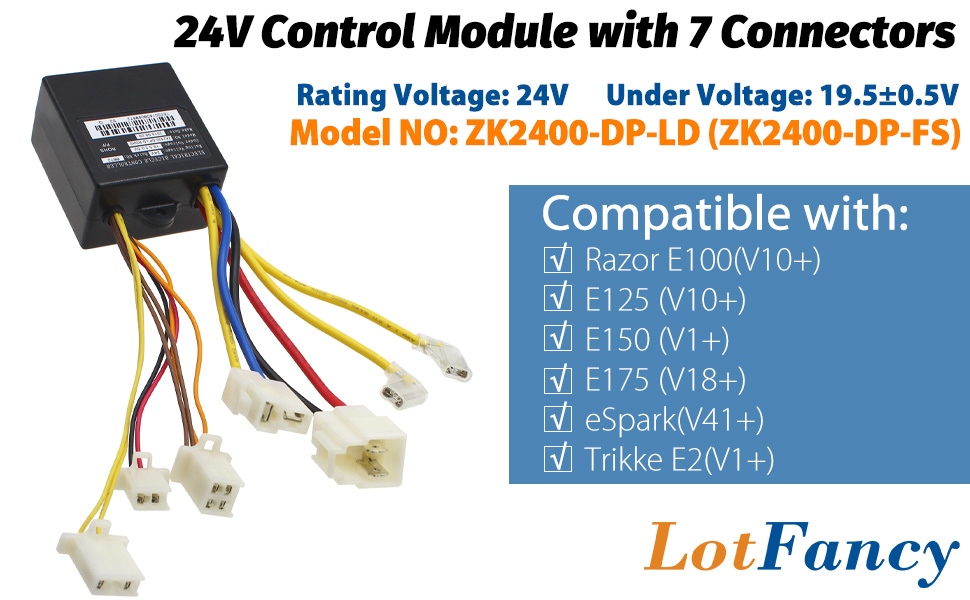 6 Pins Throttle LotFancy 24V Control Module for Razor Dirt Quad Version11+ Part Number: W25143069015 With 5 Connectors Model: HB2430-TYD6-FS-ROHS