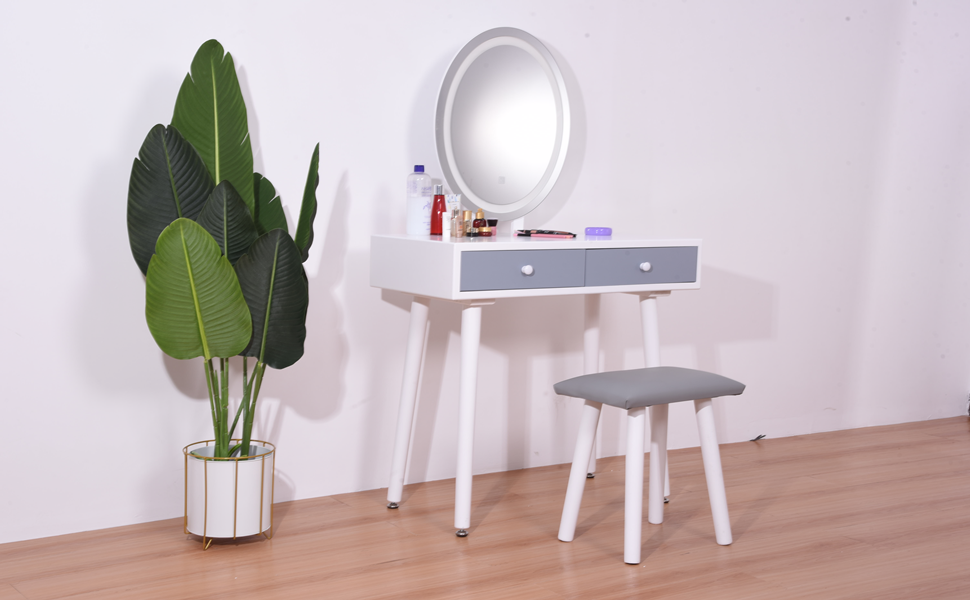 A Pretty Vanity Set with LED Lights and Stool