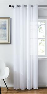 Topfinel 2 Panneaux Rideau Passant Tringle 140x145cm Voilage Blanc Transparent en Effet Lin D/écoration dint/érieur de Fen/être de Salon Chambre Cuisine et Sam