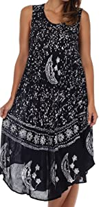 sleeveless flare high low caftan loose color lightweight summer woman cover-up nightgown lounge soft