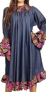 african ankara print long sleeve smock elastic chambray off the shoulder bell sleeve casual bride
