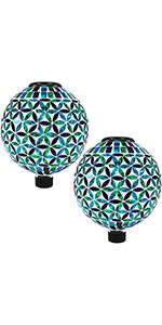 Cool Blooms Glass Mosaic Gazing globe, set of 2