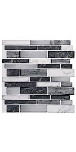 selfadhesive tile backsplash in gray marble look