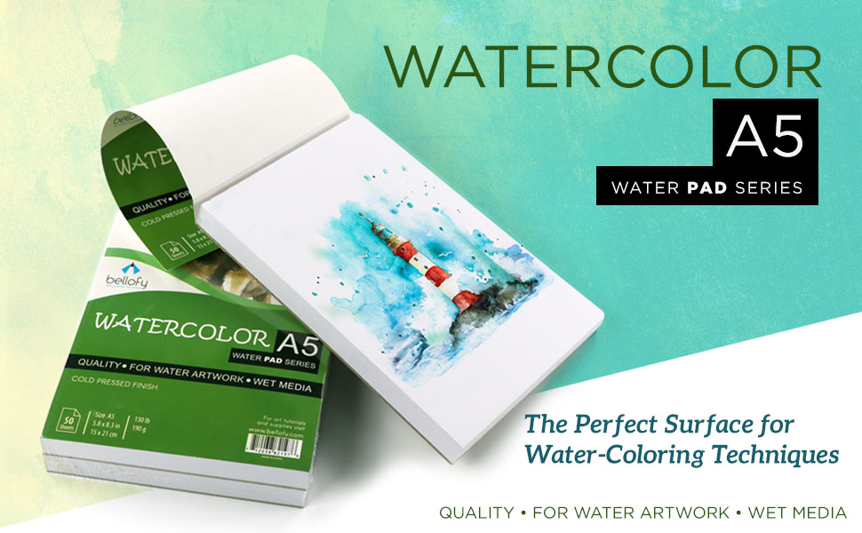 Watercolor Journal Water Painting Art Notebook Pad 5.8x8.3 inch Bellofy 50 Sheet A5 Small Watercolor Paper Pad 130 IB//190 GSM Weight Cold Press Paper Painting Paper Watercolor Sketchbook