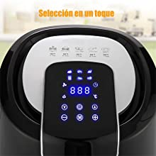 Meykey Freidora sin Aceite 6,5 L 1800W, Freidora de Aire Caliente 6 Programas Predefinidos Con Pantalla LCD y Temporizador Ajustable, Negro: Amazon.es: Hogar