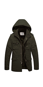 WenVen Mens Winter Washed Cotton Sherpa Lined Parka Jacket ...