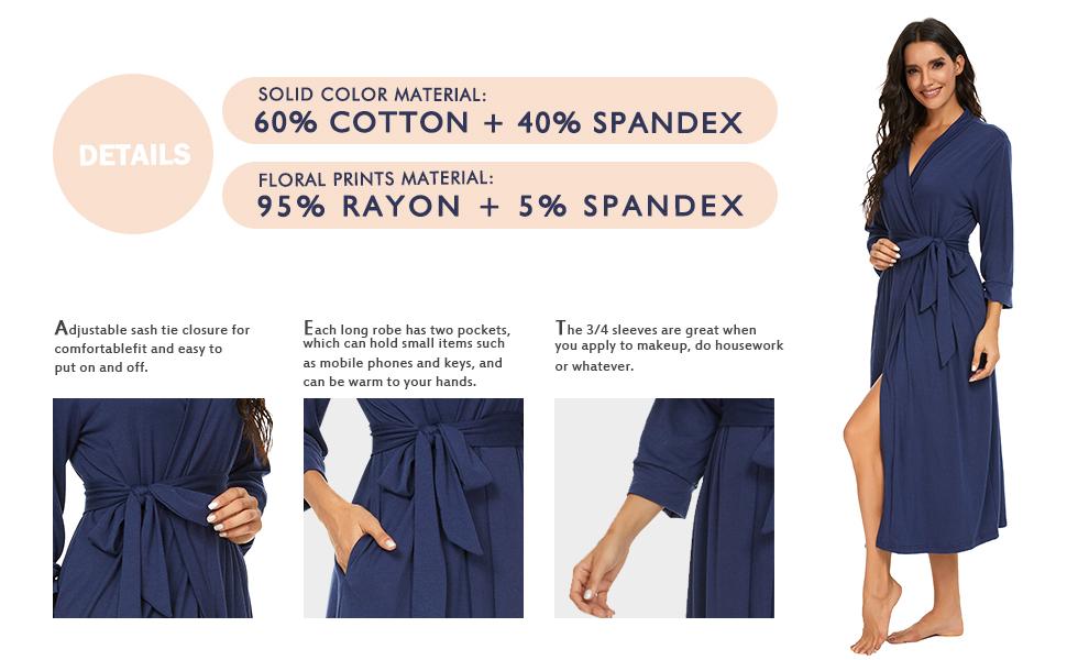 Women Kimono Robes Long Knit Bathrobe Lightweight  Soft Sleepwear V-Neck Casual Ladies Loungewear