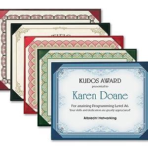 Presentations Certificate Holder Diploma Keepsake Employee Teacher Volunteer Foil Stamped Protector