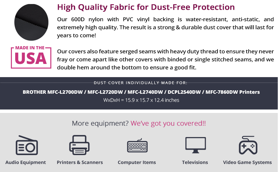 CLEAR VINYL DUST COVER FOR BROTHER MFC-J985DW PRINTER