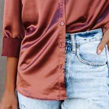 Women's Satin Silk Long Sleeve Button Down Shirt