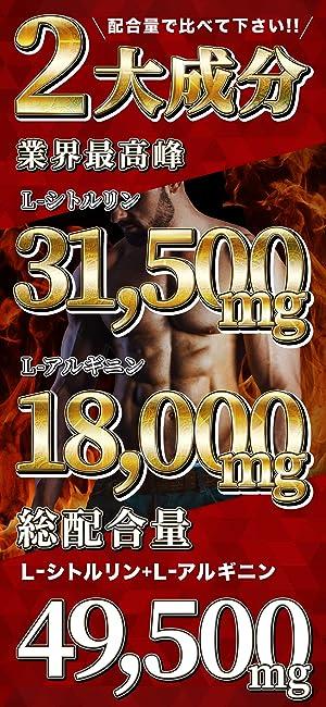 配合量で比べてください 2大成分 L-シトルリン31,500mg L-アルギニン 18,000mg