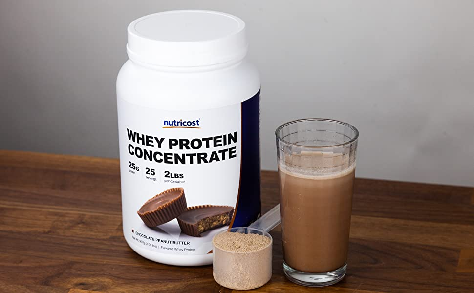 Nutricost Whey Protein Concentrate Chocolate Peanut Butter  2 Lbs 25 Servings 25 Grams of Protein
