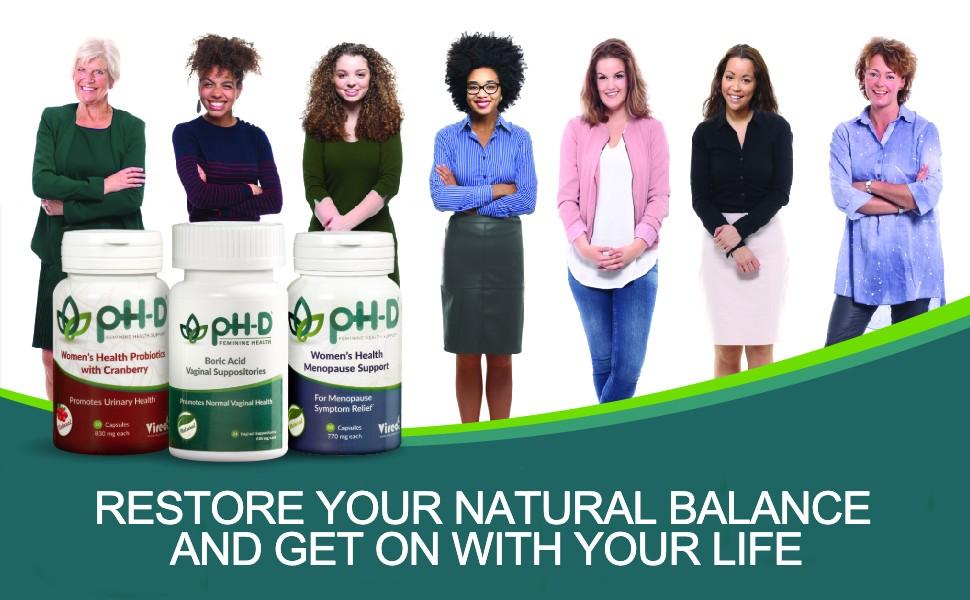 pHD Menopause supplement, night sweats mood swings feminine health support hot flashes perimenopause