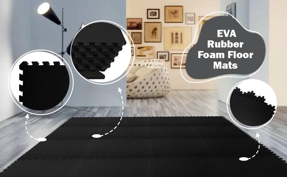 BLADO Interlocking Foam Mats Mix Pattern EVA Puzzle Foam Exercise Floor Play Mats Gym Flooring Mats