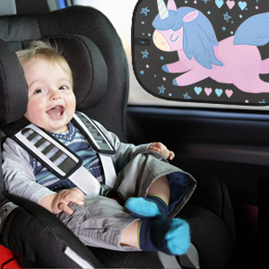 KMMIN Car Window Shade for Baby Auto Sunshade for Blocking UV Ray and Protecting Kids Pets with Easy Installation and Good Cooling Effect Cute Patterns