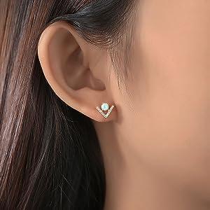 dainty opal diamonds earrings