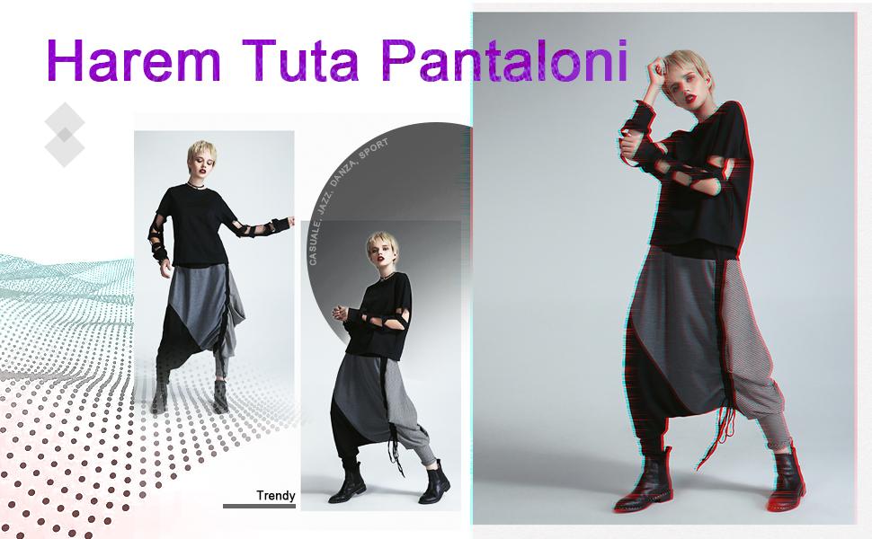 LATH.PIN Donna Casual Danza Jogging di Hip Hop Rigonfio Harem Tuta Pantaloni Sportivi