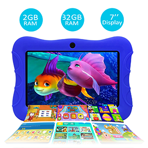 full featured - Contixo V9-3-32 7 Inch Kids Tablet, 2GB RAM 32 GB ROM, Android 10 Tablet, Educational Tablets For Kids, Parental Control Pre Installed Learning Game Apps WiFi Bluetooth Tablets For Kids, Dark Blue