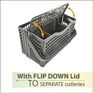 dishwasher utensil basket universal with flip cover
