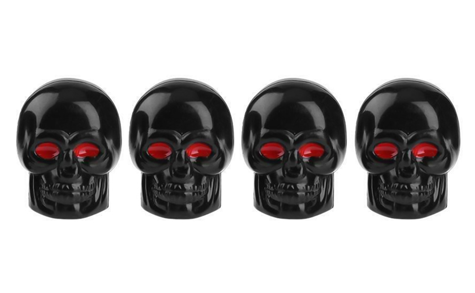 4 Pack Motorcycles Trucks Anti-Theft Hexagon Design fits Cars Bikes Bicycles Tire Valve Stem Caps JINZHAO Skull Style Valve Stem Cap Dustproof Seal Lock Tight Fit All-Weather