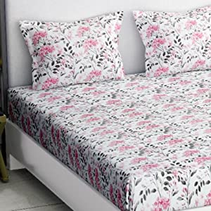 100% Cotton Double Bedsheet with 2 Pillow Covers in KING SIZE