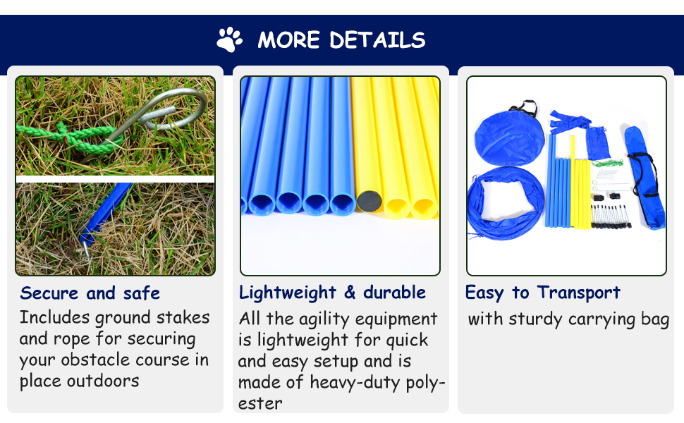 Dog Agility Starter Kit Pet Outdoor Exercise Training Set Tunnel Weave Pole High Jumper