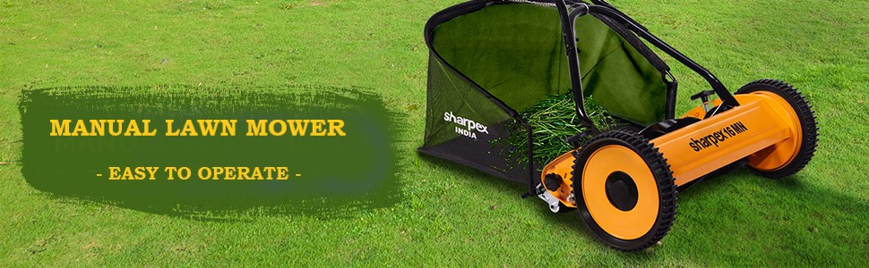 Manual Lawn Mower with Grass Catcher