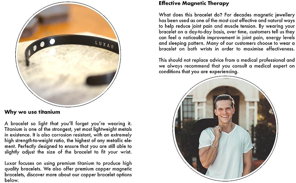 luxar mens titantium magnetic bracelet carpal tunnel health tennis golf health pain