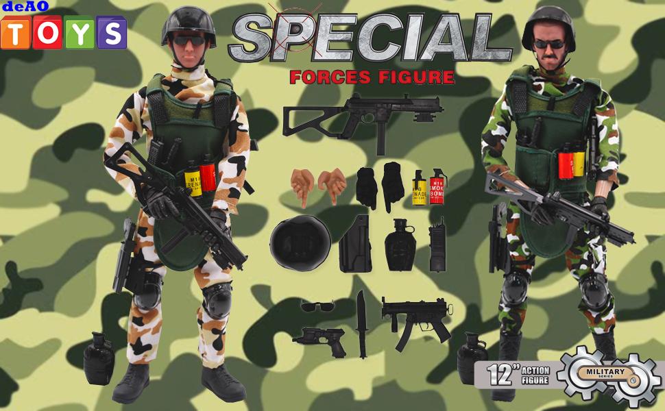 deAO Soldados de Fuerzas Armadas Conjunto de 2 Figuras de Acción Unidad de Defensa Militar Muñecos de Combate con Accesorios Incluidos: Amazon.es: Juguetes y juegos