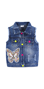 Girls Ripped Denim Vest with Sequin
