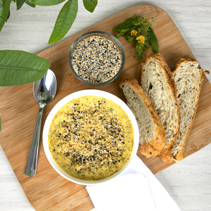 Hidden Nature's Source organic everything bagel seasoning on soup with bread for dipping