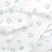 Toddlers- Blue Hearts and Bows Smooth Absorbent Breathable Twill Fabric for Infants Newborns Babies The White Cradle Pure Organic Cotton Fitted Cot Sheet for Baby Crib 140 x 70 cm Super Soft