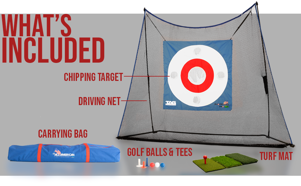 whats included: carrying bag, driving net, golf balls and tees, turf mat, chipping target