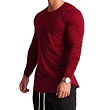 RED Magiftbox Mens Lightweight Cotton Workout Long Sleeve T-Shirts Essential Training Tee