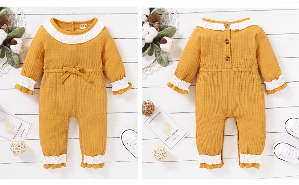 Mikrdoo Baby Girl Solid Ruffled Strap Jumpsuit Summer Sleeveless Halter Bodysuit for Toddler Girl