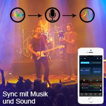 Synchronisierte Beleuchtung und Musikrhythmus oder Außen Klang