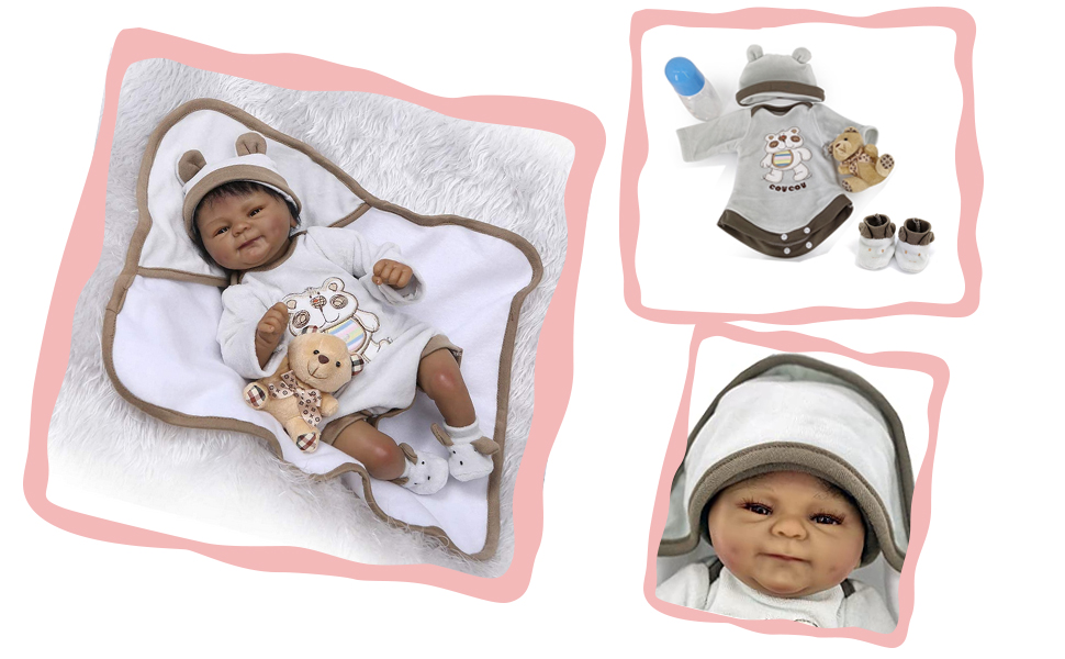 """18/"""" Handmade Black African American Alive Weighted Poseable Reborn Baby Dolls"""