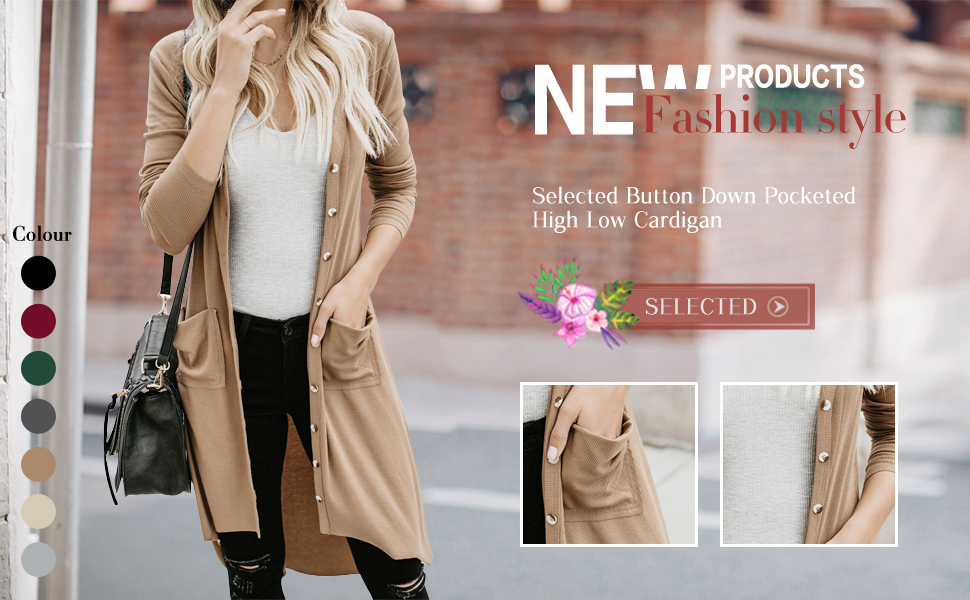 Button Down Pocketed High Low Cardigan