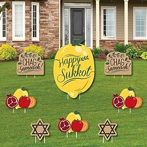 Sukkot - Yard Sign and Outdoor Lawn Decorations - Sukkah Jewish Holiday Yard Signs