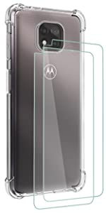 Osophter for MOTO G Power 2021 Case Clear Transparent with 2pcs Screen Protector