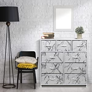 Amazon Com Sorbus Dresser With 9 Drawers Furniture Storage Chest Tower Unit For Bedroom Hallway Closet Office Organization Steel Frame Wood Top Fabric Bins Marble White Baby