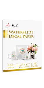 water slide decal paper for inkjet printer white