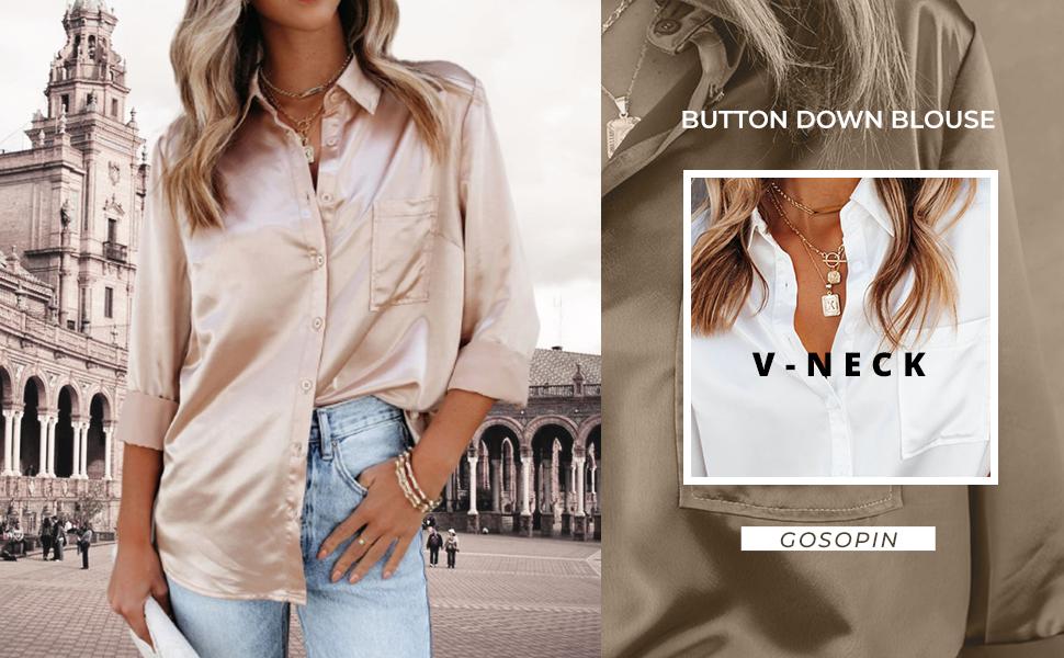 Women Blouse Long Sleeve Ladies Shirt Satin Charmeuse Work Top