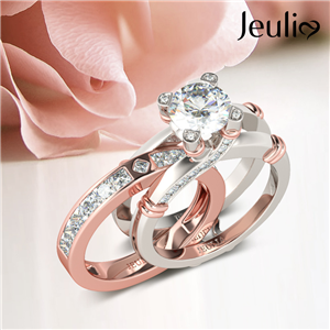 Jeulia 925 rose gold plated interchangable ring set