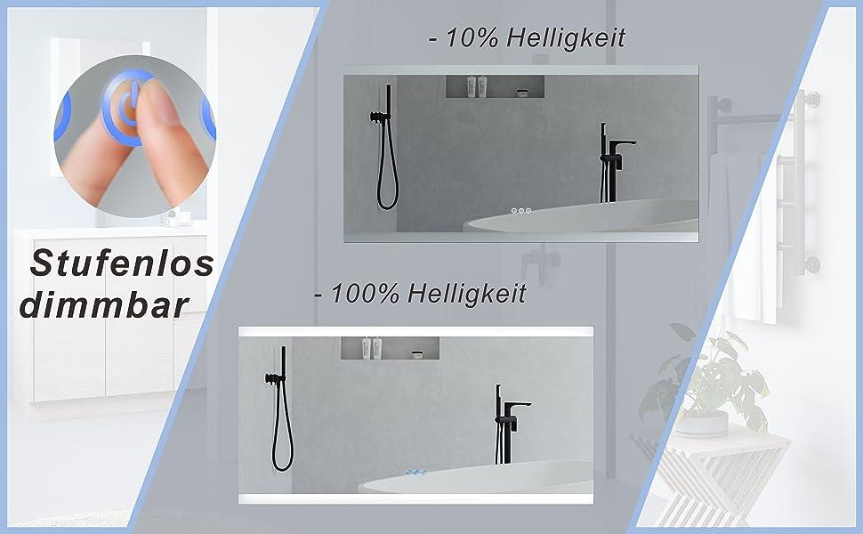 Großer Badspiegel Beleuchtet LED Spiegel für Bad 140x70cm NIMES Typ C