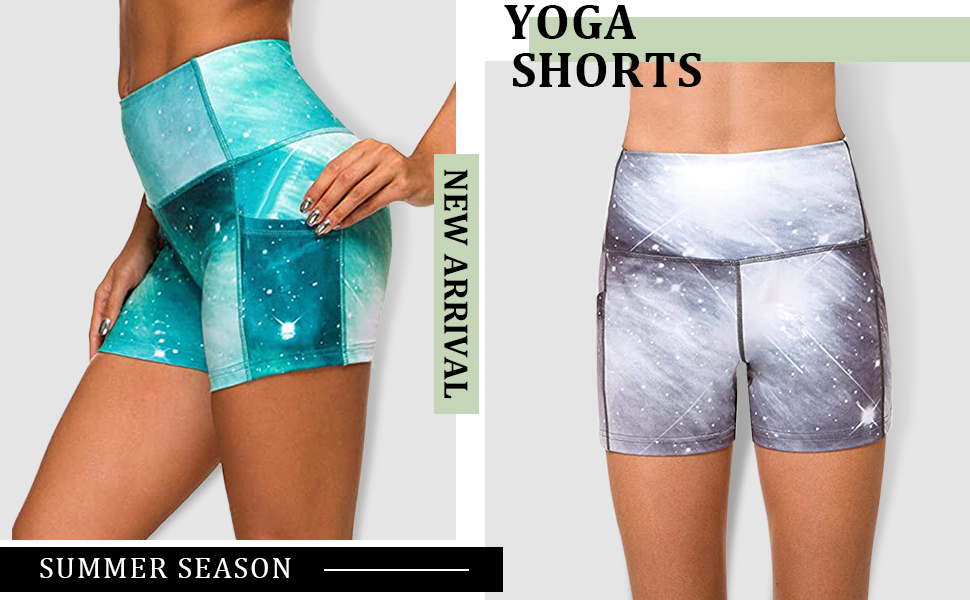 REORIA Womens High Waist Yoga Shorts Pants Tummy Control Athletic Workout Running Shorts with Pockets