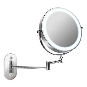 VISECO Schminkspiegel mit Licht LED Beleuchtung,Wandmontage Kosmetikspiegel,3X Fache Vergr/ö/ßerung,360 Degr/és Rotation,USB Aufladen Bronze